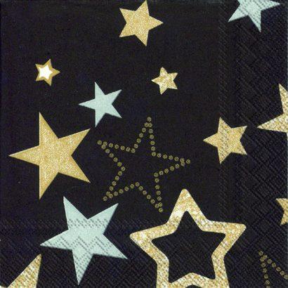 SPARKLING STARS BLACK – Cocktail Napkins