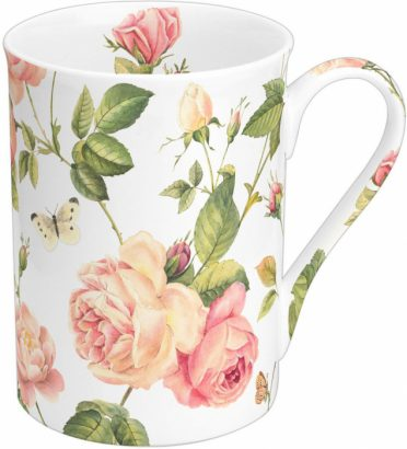 New rambling rose cream – Bone china mug