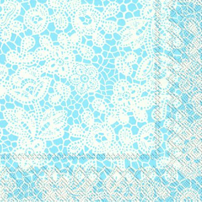 Pretty lace light blue- Lunch napkins