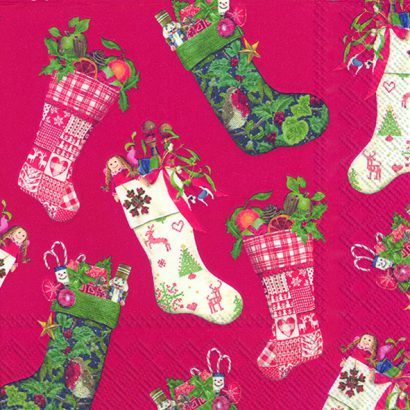 CHRISTMAS STOCKINGS red – Cocktail napkins
