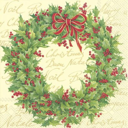 HOLLY WREATH cream – Lunch napkins