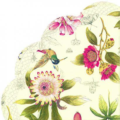 Hummingbird and blossoms cream – Rondo napkins